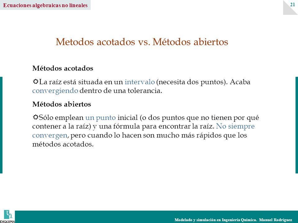 Modelado y simulación en Ingeniería Química. Manuel Rodríguez 21 Ecuaciones algebraicas no lineales Métodos acotados La raíz está situada en un interv