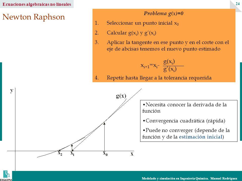 Modelado y simulación en Ingeniería Química. Manuel Rodríguez 24 Ecuaciones algebraicas no lineales Newton Raphson Problema g(x)=0 1.Seleccionar un pu