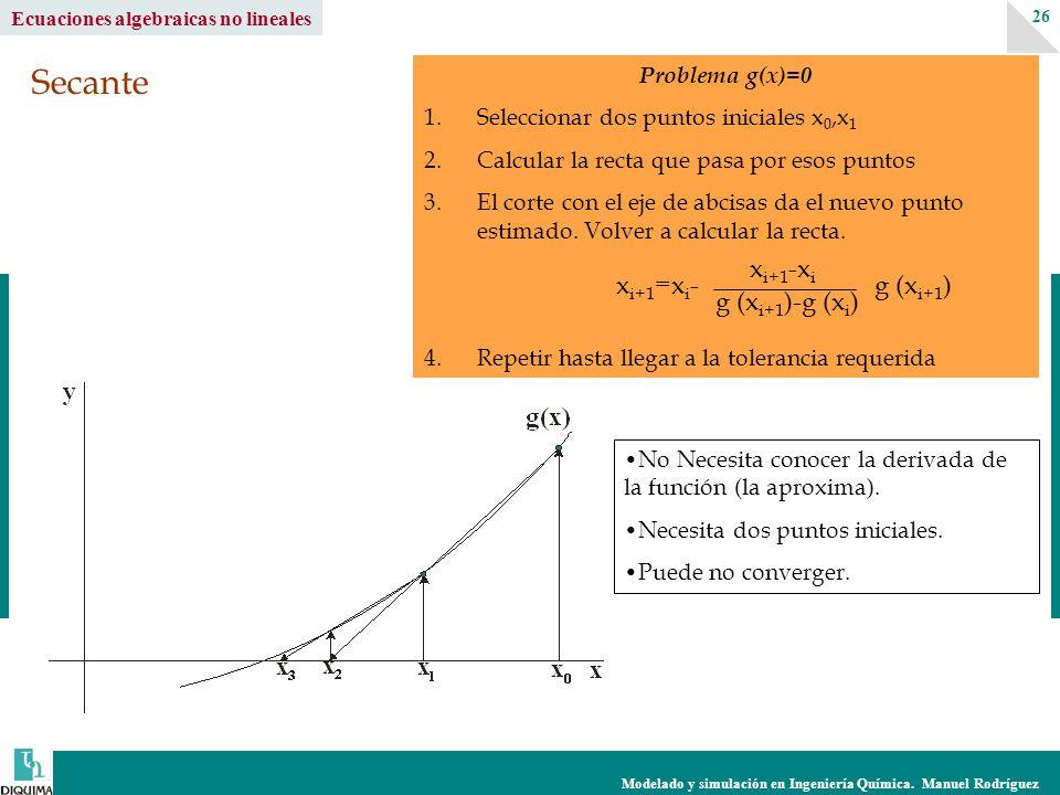 Modelado y simulación en Ingeniería Química. Manuel Rodríguez 26 Ecuaciones algebraicas no lineales Problema g(x)=0 1.Seleccionar dos puntos iniciales