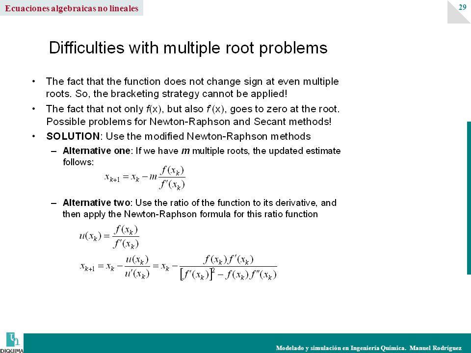 Modelado y simulación en Ingeniería Química. Manuel Rodríguez 29 Ecuaciones algebraicas no lineales