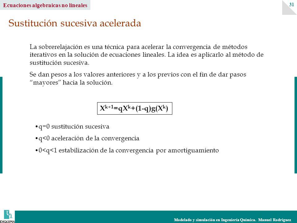 Modelado y simulación en Ingeniería Química. Manuel Rodríguez 31 Ecuaciones algebraicas no lineales La sobrerelajación es una técnica para acelerar la