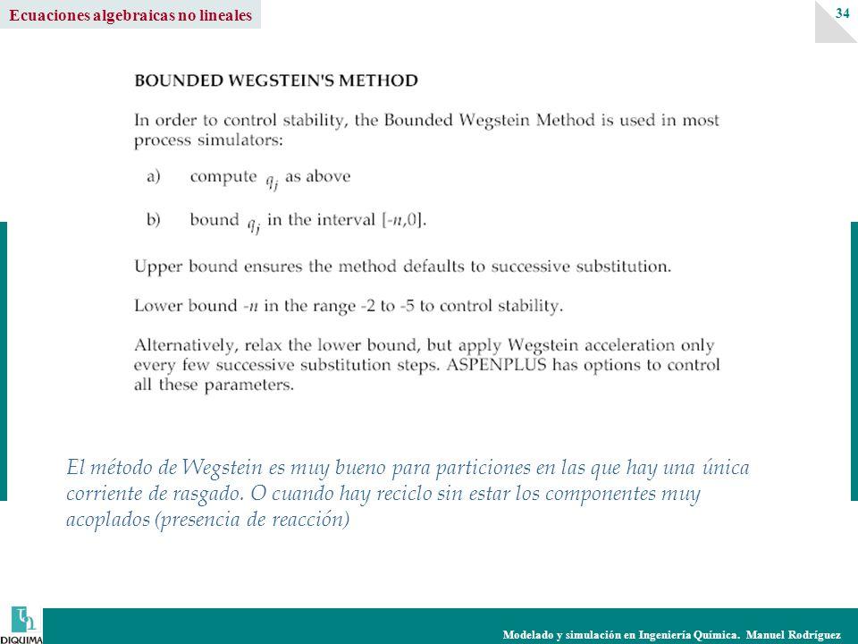 Modelado y simulación en Ingeniería Química. Manuel Rodríguez 34 Ecuaciones algebraicas no lineales El método de Wegstein es muy bueno para particione
