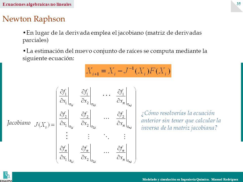 Modelado y simulación en Ingeniería Química. Manuel Rodríguez 35 Ecuaciones algebraicas no lineales Newton Raphson En lugar de la derivada emplea el j