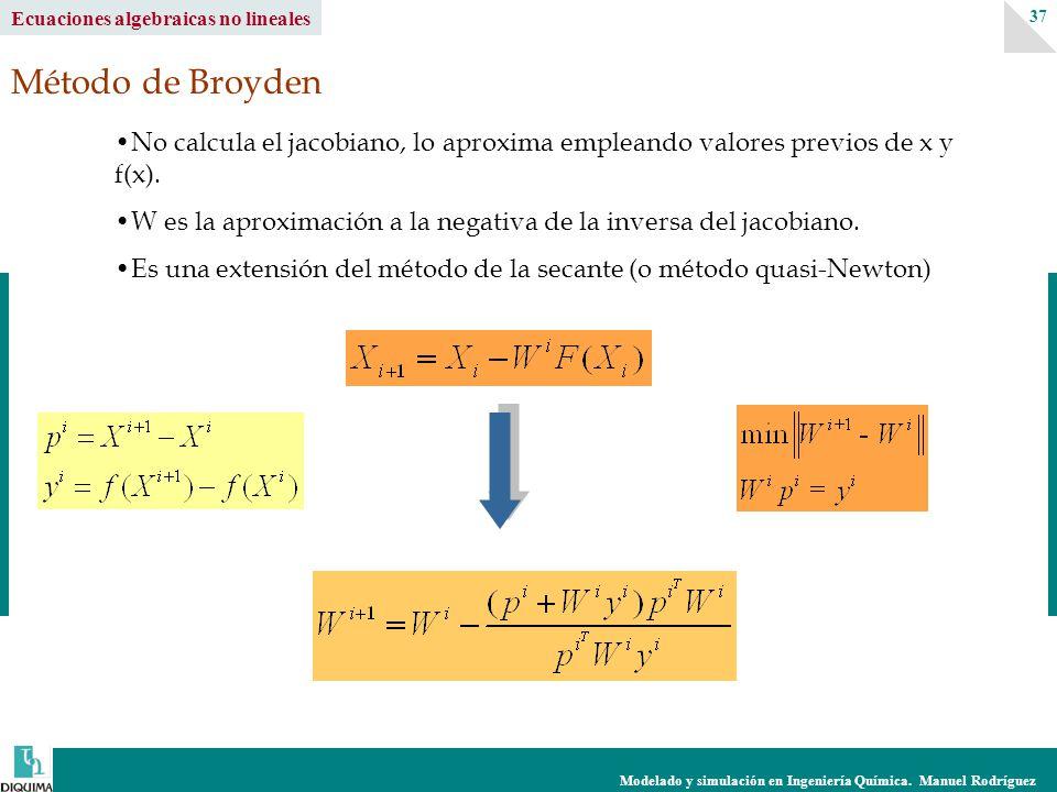 Modelado y simulación en Ingeniería Química. Manuel Rodríguez 37 Ecuaciones algebraicas no lineales Método de Broyden No calcula el jacobiano, lo apro