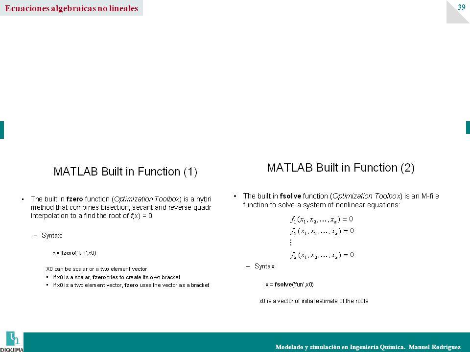 Modelado y simulación en Ingeniería Química. Manuel Rodríguez 39 Ecuaciones algebraicas no lineales