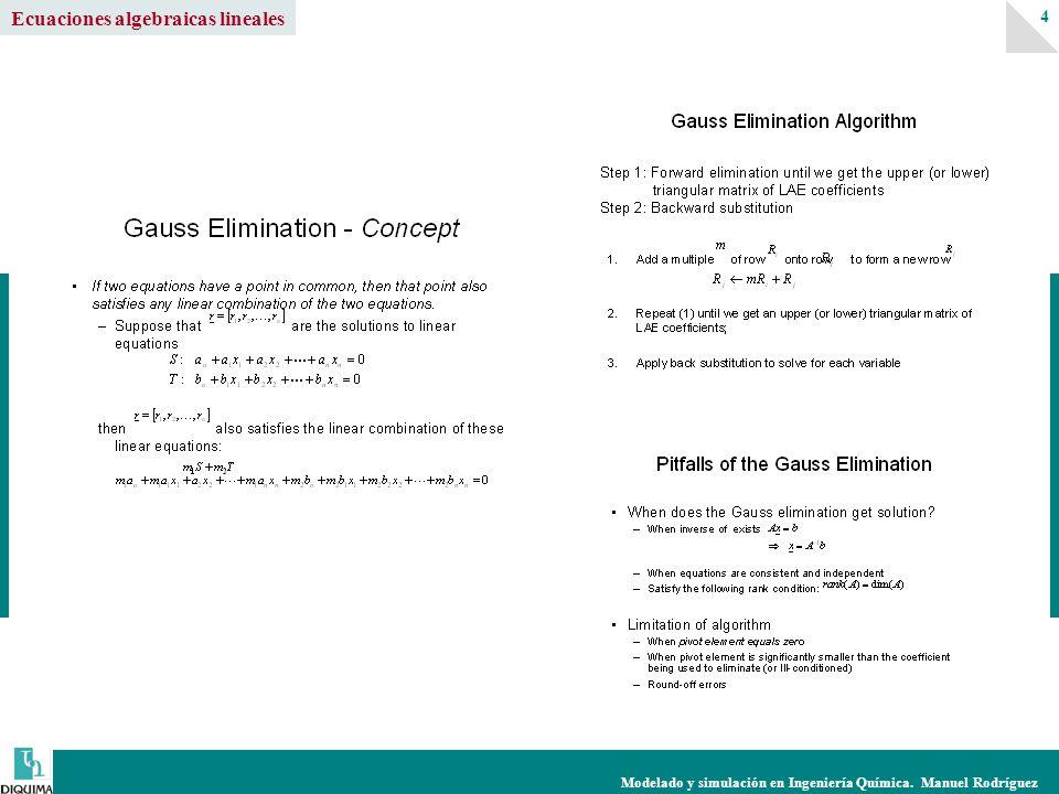 Modelado y simulación en Ingeniería Química. Manuel Rodríguez 4 Ecuaciones algebraicas lineales
