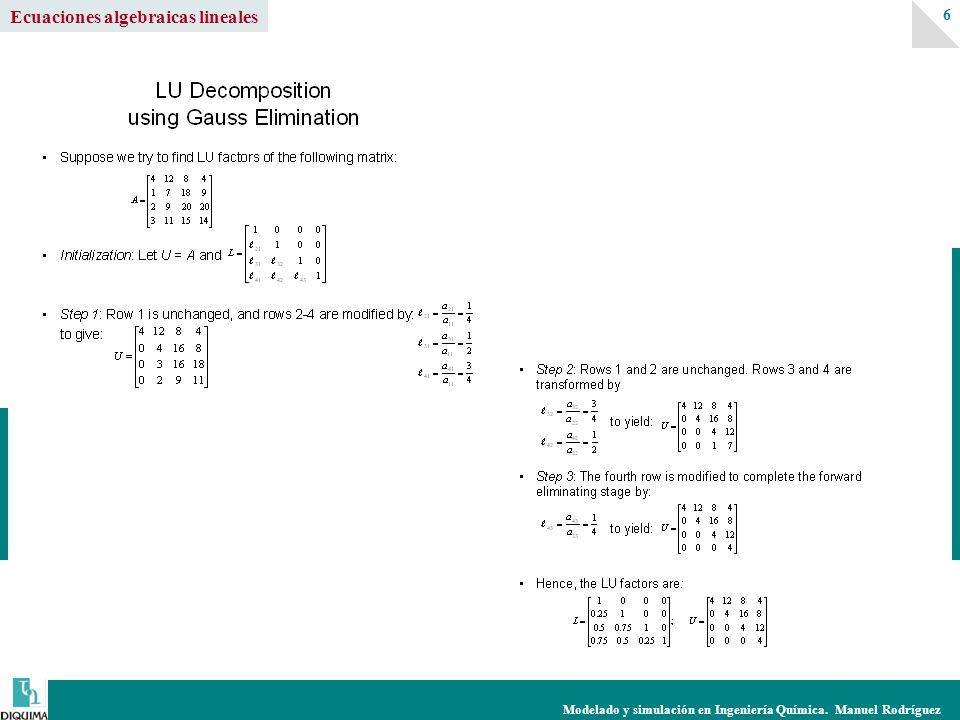 Modelado y simulación en Ingeniería Química. Manuel Rodríguez 6 Ecuaciones algebraicas lineales