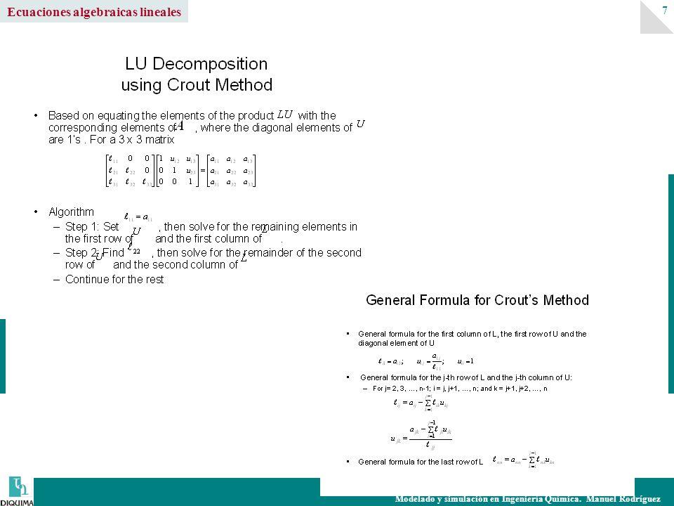 Modelado y simulación en Ingeniería Química. Manuel Rodríguez 7 Ecuaciones algebraicas lineales