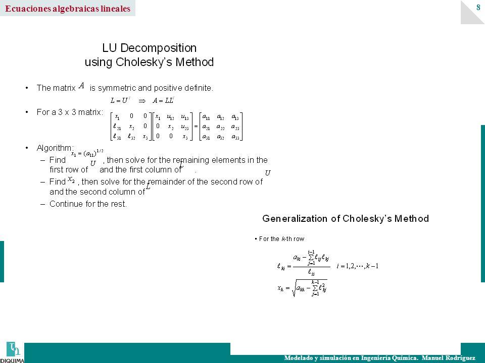 Modelado y simulación en Ingeniería Química. Manuel Rodríguez 8 Ecuaciones algebraicas lineales