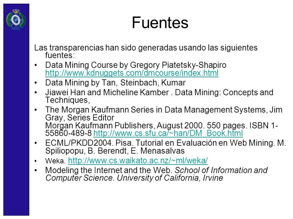Fuentes Las transparencias han sido generadas usando las siguientes fuentes: Data Mining Course by Gregory Piatetsky-Shapiro http://www.kdnuggets.com/