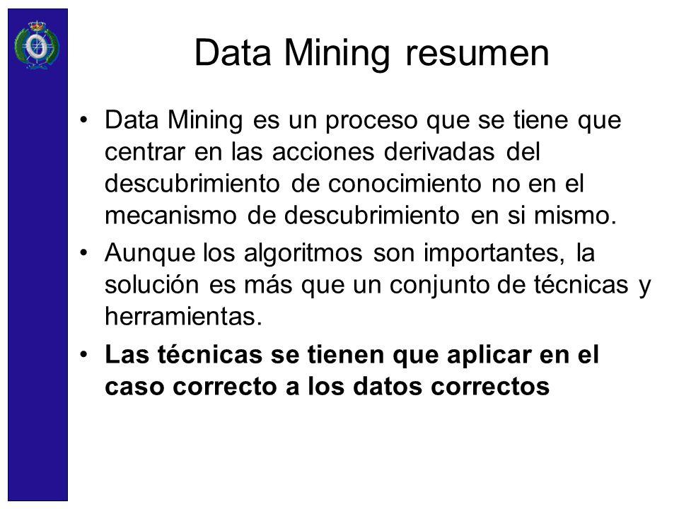 Data Mining resumen Data Mining es un proceso que se tiene que centrar en las acciones derivadas del descubrimiento de conocimiento no en el mecanismo
