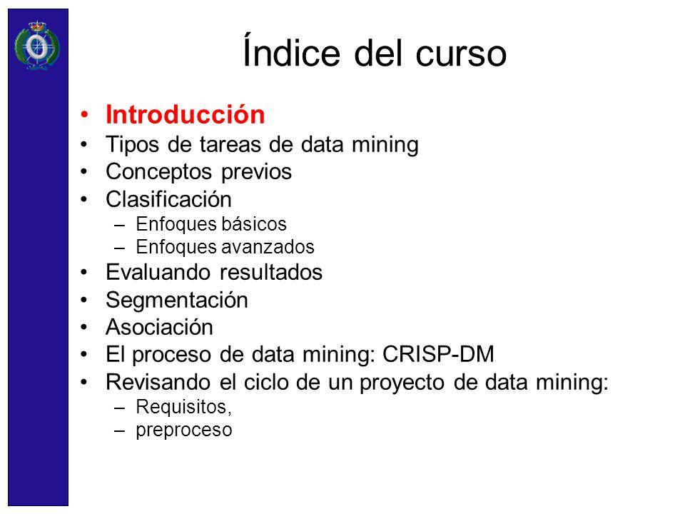 Índice del curso Introducción Tipos de tareas de data mining Conceptos previos Clasificación –Enfoques básicos –Enfoques avanzados Evaluando resultado