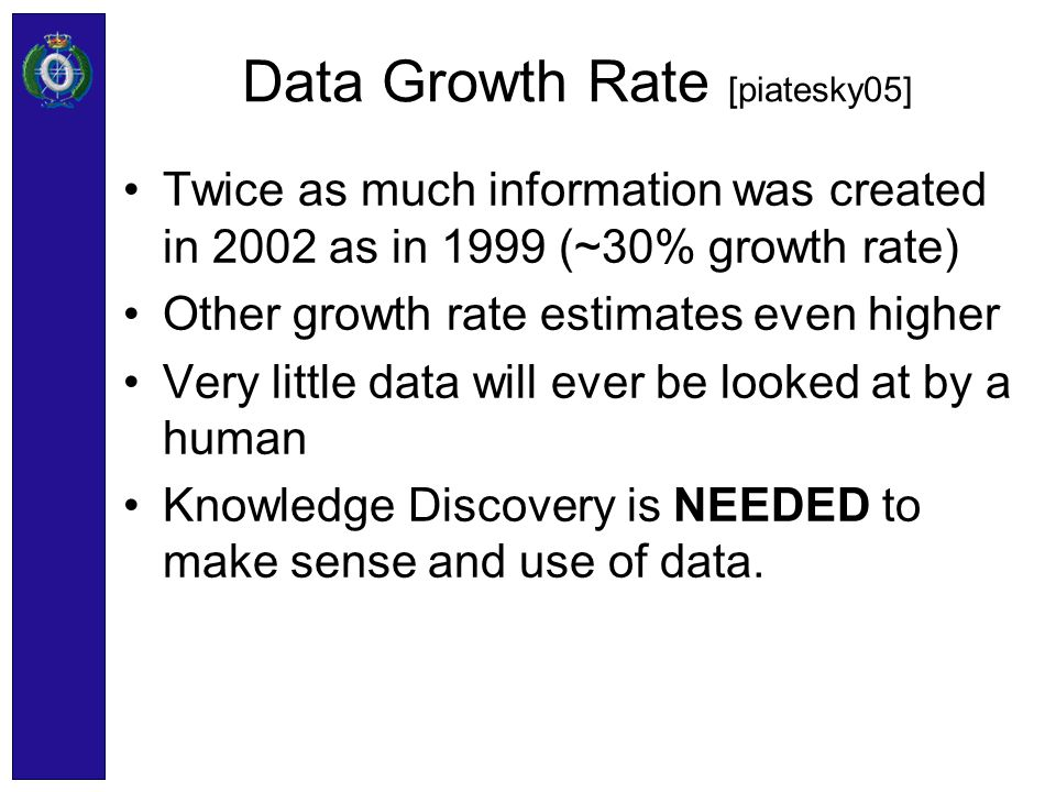 Data Growth Rate [piatesky05] Twice as much information was created in 2002 as in 1999 (~30% growth rate) Other growth rate estimates even higher Very