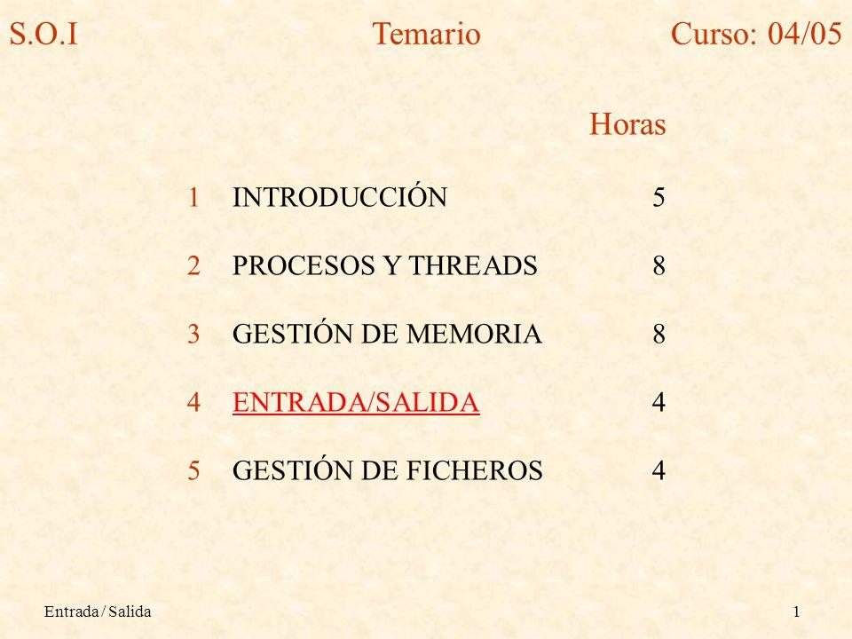 Entrada / Salida1 Horas 1INTRODUCCIÓN5 2PROCESOS Y THREADS8 3GESTIÓN DE MEMORIA8 4ENTRADA/SALIDA4 5GESTIÓN DE FICHEROS4 S.O.ITemarioCurso: 04/05