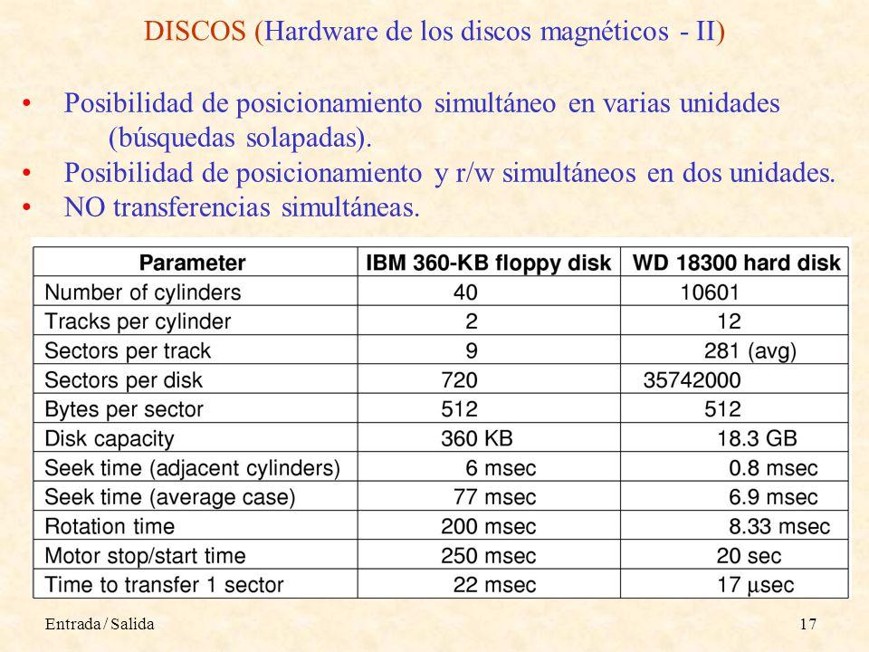 Entrada / Salida17 DISCOS (Hardware de los discos magnéticos - II) Posibilidad de posicionamiento simultáneo en varias unidades (búsquedas solapadas).