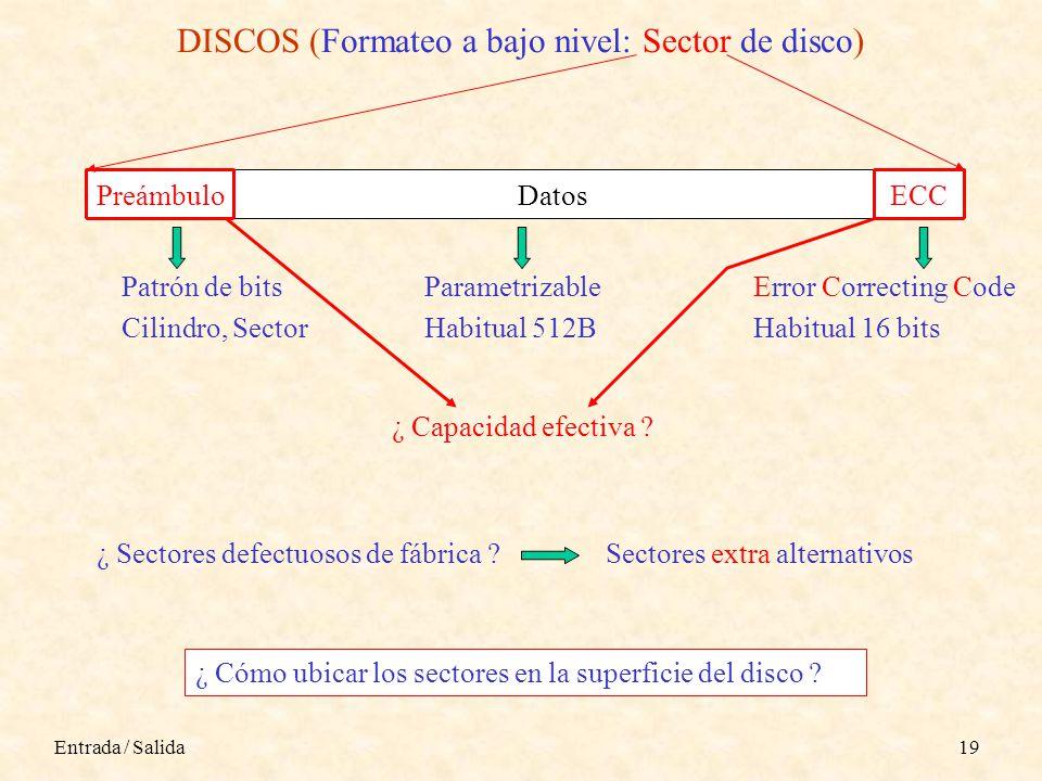 Entrada / Salida19 DISCOS (Formateo a bajo nivel: Sector de disco) PreámbuloDatosECC Patrón de bits Cilindro, Sector Parametrizable Habitual 512B Error Correcting Code Habitual 16 bits ¿ Capacidad efectiva .