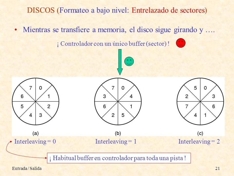 Entrada / Salida21 DISCOS (Formateo a bajo nivel: Entrelazado de sectores) Mientras se transfiere a memoria, el disco sigue girando y ….