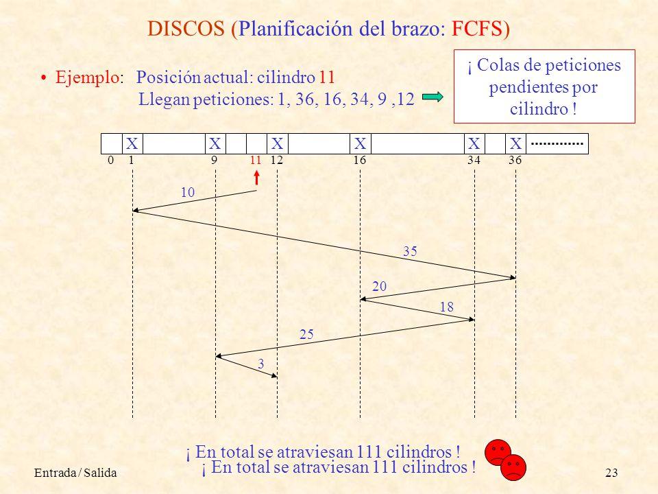 Entrada / Salida23 DISCOS (Planificación del brazo: FCFS) Ejemplo: Posición actual: cilindro 11 Llegan peticiones: 1, 36, 16, 34, 9,12 0191112163436 XX 10 35 X XXX 20 18 25 3 ¡ En total se atraviesan 111 cilindros .