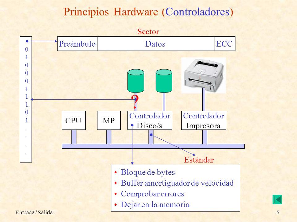 Entrada / Salida5 Principios Hardware (Controladores) PreámbuloDatosECC Sector CPUMP Controlador Disco/s Controlador Impresora .