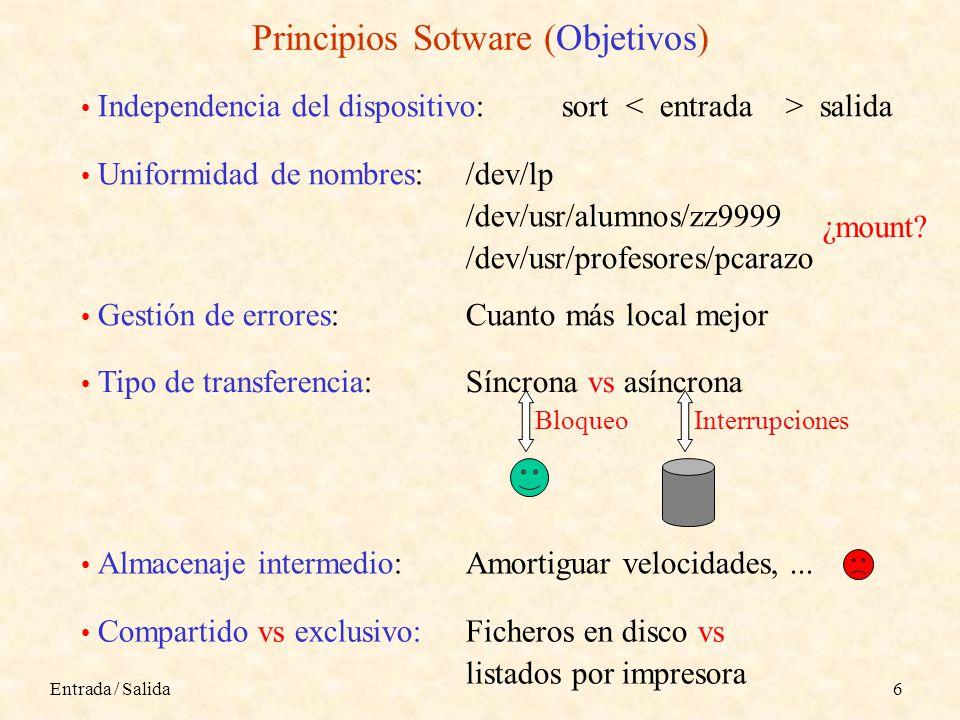 Entrada / Salida6 Principios Sotware (Objetivos) Independencia del dispositivo:sort salida Uniformidad de nombres:/dev/lp /dev/usr/alumnos/zz9999 /dev/usr/profesores/pcarazo ¿mount.