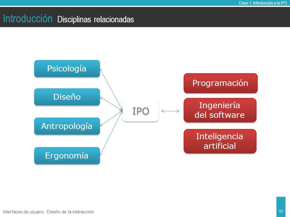 Clase 1: Introducción a la IPO Introducción Disciplinas relacionadas Interfaces de usuario: Diseño de la interacción 17 IPO Psicología Diseño Antropología Ergonomía Programación Ingeniería del software Ingeniería del software Inteligencia artificial Inteligencia artificial