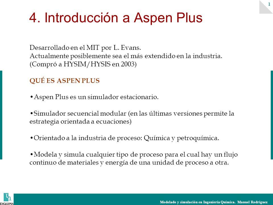Modelado y simulación en Ingeniería Química.Manuel Rodríguez 1 4.