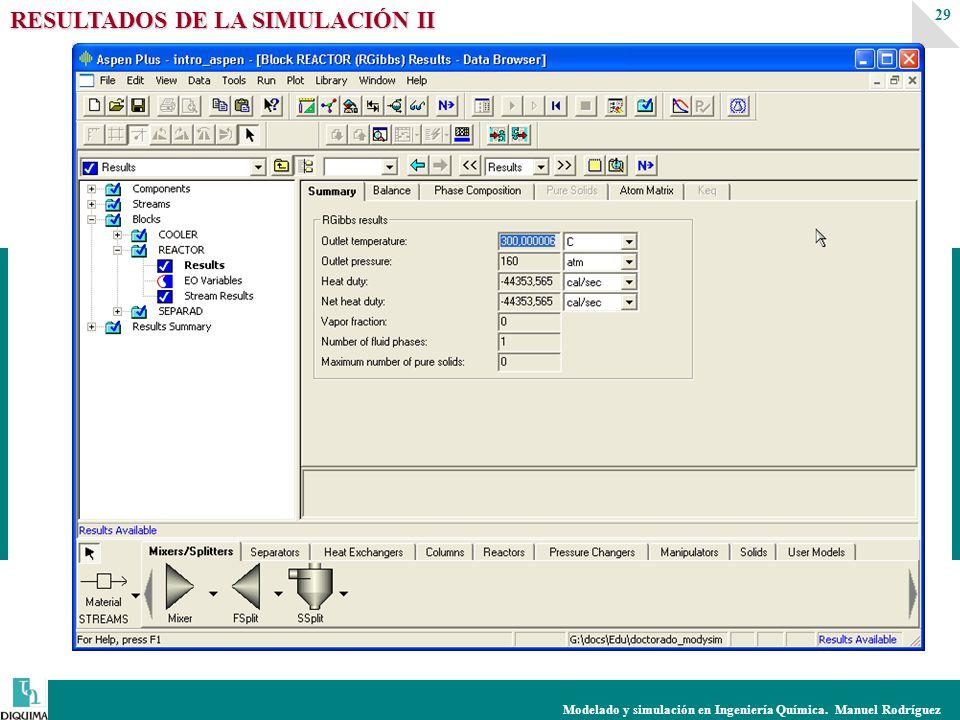 Modelado y simulación en Ingeniería Química. Manuel Rodríguez 29 RESULTADOS DE LA SIMULACIÓN II