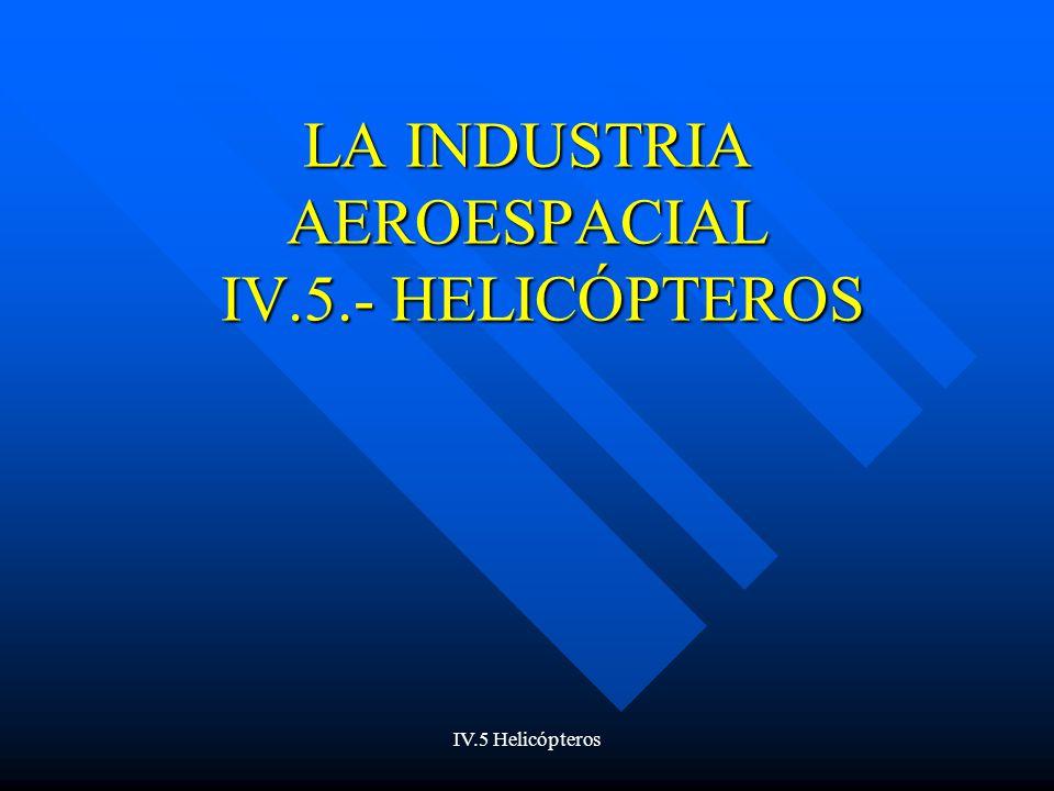 IV.5 Helicópteros Estados Unidos Schweizer Aircraft Schweizer Aircraft –Especializada en helicópteros civiles ligeros Robinson Robinson –Líder mundial en cuanto a número de helicópteros vendidos –328 helicópteros en 2001 –197 unidades en el primer semestre de 2001 en Estados Unidos frente a 54 de Bell, su perseguidor