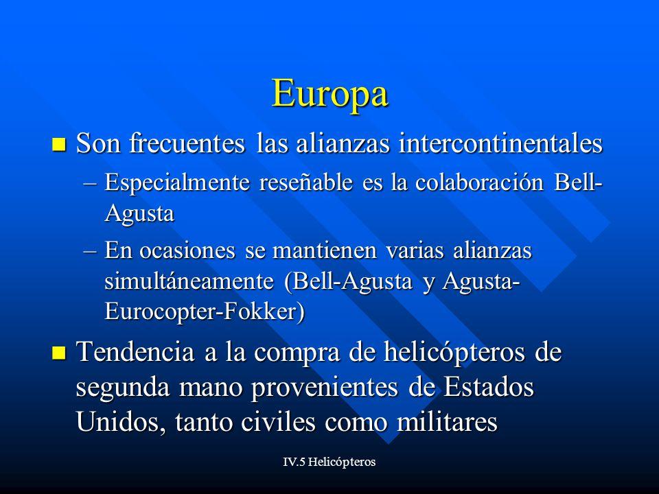 IV.5 Helicópteros Europa Son frecuentes las alianzas intercontinentales Son frecuentes las alianzas intercontinentales –Especialmente reseñable es la