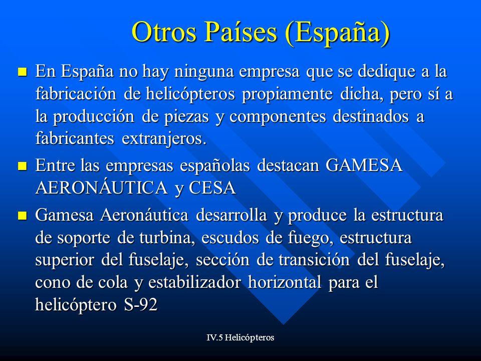 IV.5 Helicópteros Otros Países (España) En España no hay ninguna empresa que se dedique a la fabricación de helicópteros propiamente dicha, pero sí a