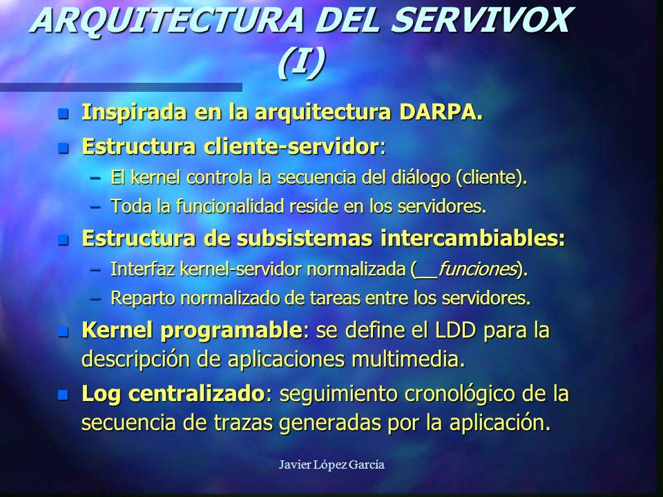Javier López García ARQUITECTURA DEL SERVIVOX (I) n Inspirada en la arquitectura DARPA.