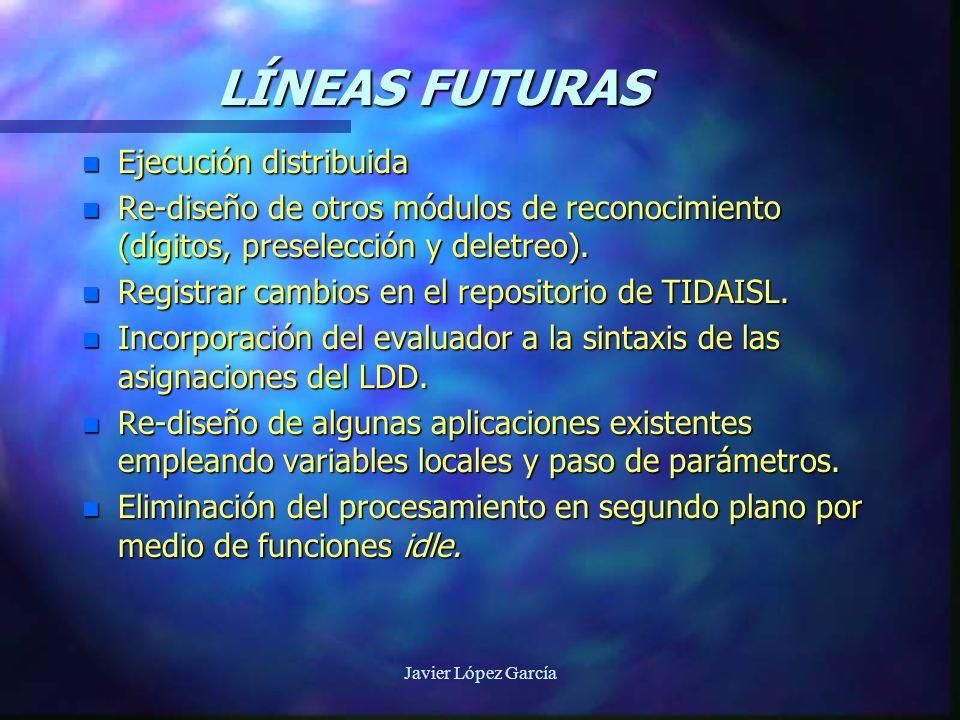 Javier López García LÍNEAS FUTURAS n Ejecución distribuida n Re-diseño de otros módulos de reconocimiento (dígitos, preselección y deletreo).