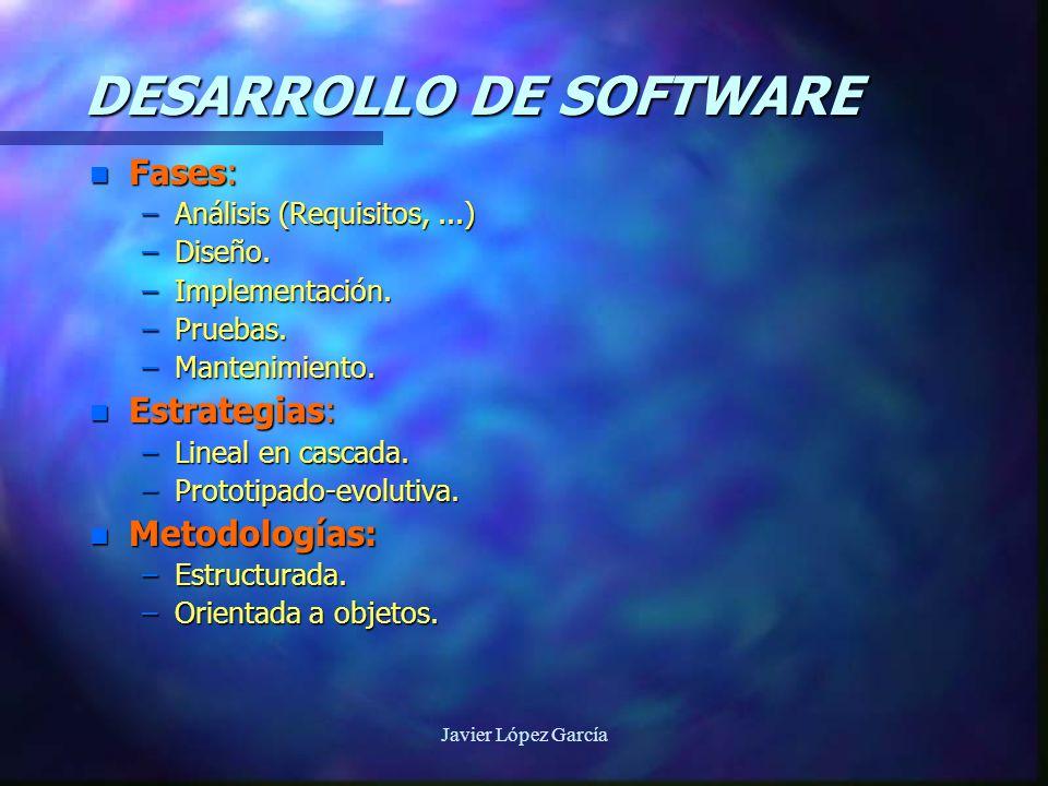 Javier López García DESARROLLO DE SOFTWARE n Fases: –Análisis (Requisitos,...) –Diseño.