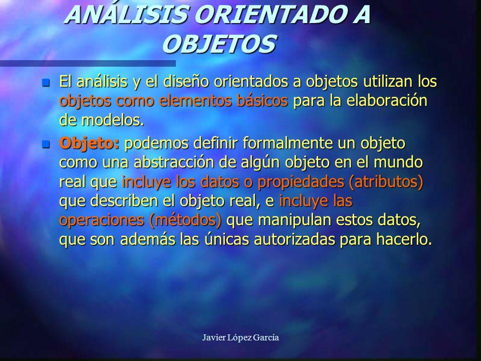 Javier López García ANÁLISIS ORIENTADO A OBJETOS n El análisis y el diseño orientados a objetos utilizan los objetos como elementos básicos para la elaboración de modelos.
