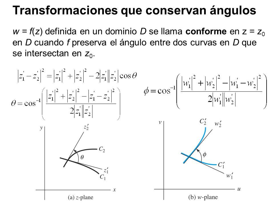 Transformaciones que conservan ángulos w = f(z) definida en un dominio D se llama conforme en z = z 0 en D cuando f preserva el ángulo entre dos curva