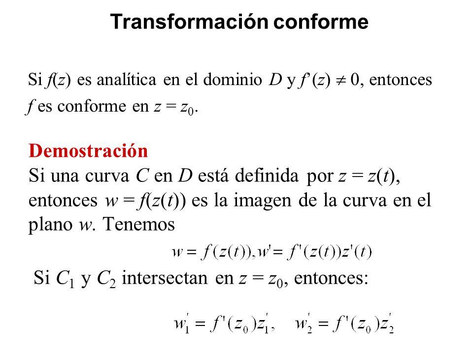 Demostración Si una curva C en D está definida por z = z(t), entonces w = f(z(t)) es la imagen de la curva en el plano w. Tenemos Si C 1 y C 2 interse