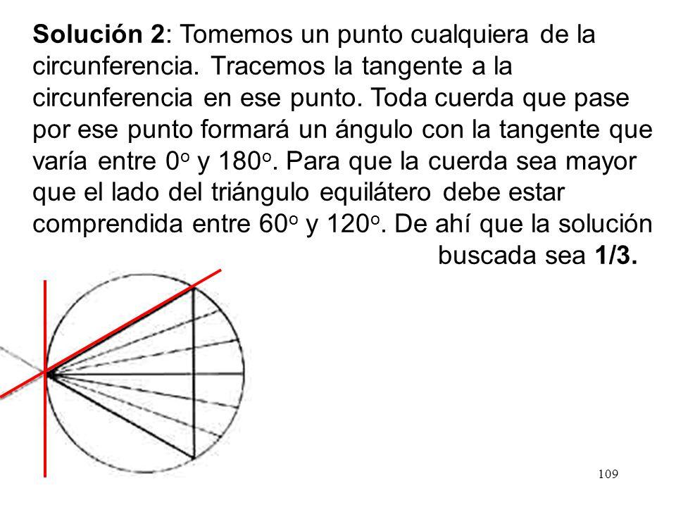 108 Solución 1: La posición de la cuerda puede ser determinada por su distancia al centro de la circunferencia. Esta distancia puede variar entre 0 y