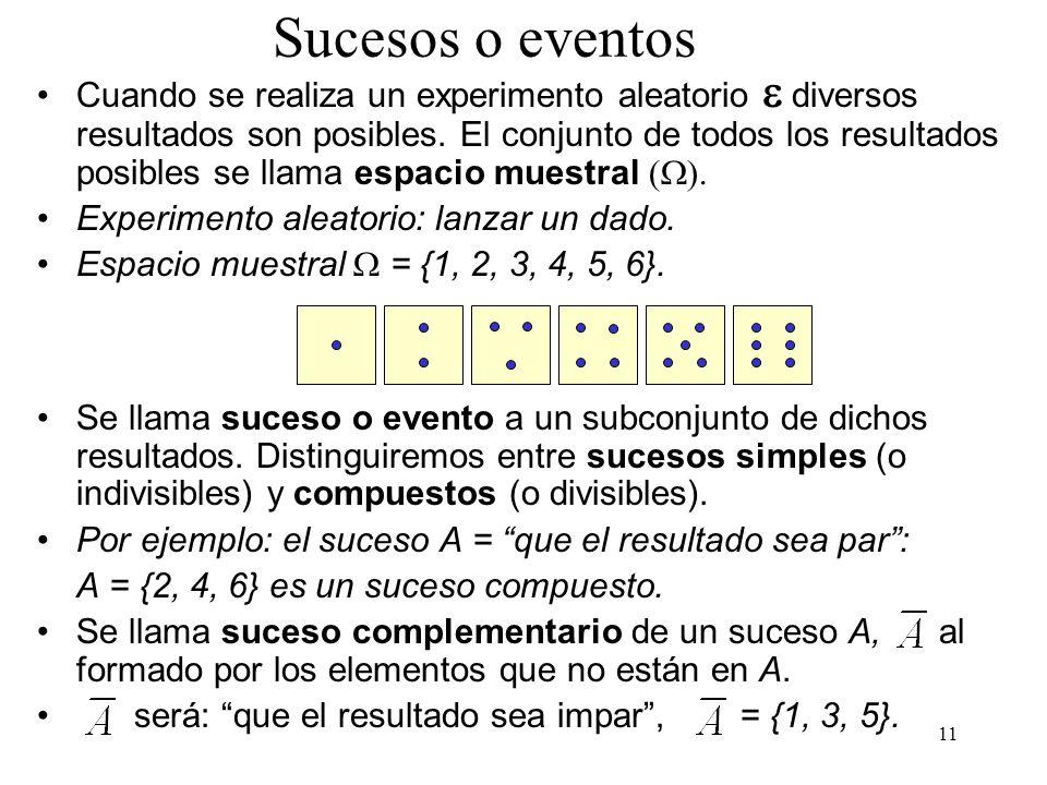 10 Experimento aleatorio Entenderemos por experimento aleatorio ( ) cualquier situación que, realizada en las mismas condiciones, proporcione un resul
