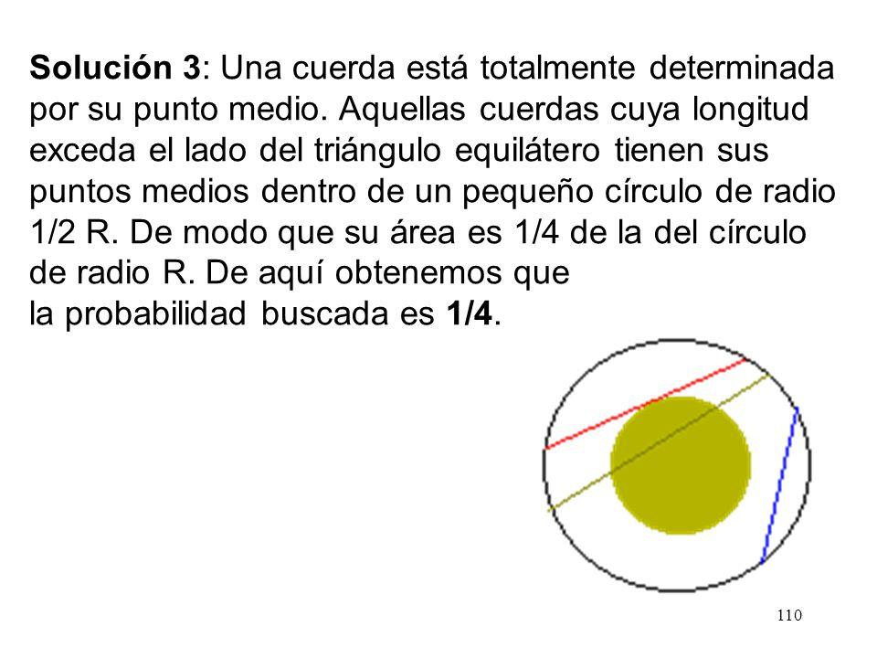 109 Solución 2: Tomemos un punto cualquiera de la circunferencia. Tracemos la tangente a la circunferencia en ese punto. Toda cuerda que pase por ese