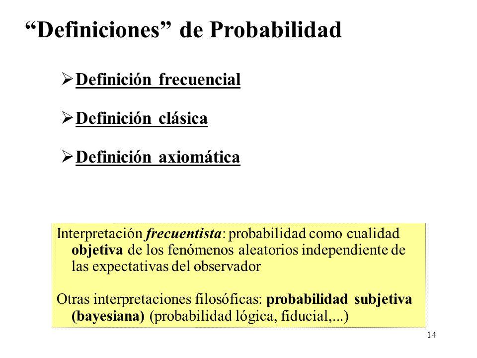 13 Frecuencia relativa: experimento, A suceso Idea (experimental) de Probabilidad Ley del azar: A medida que n aumenta, f A tiende a estabilizarse alr