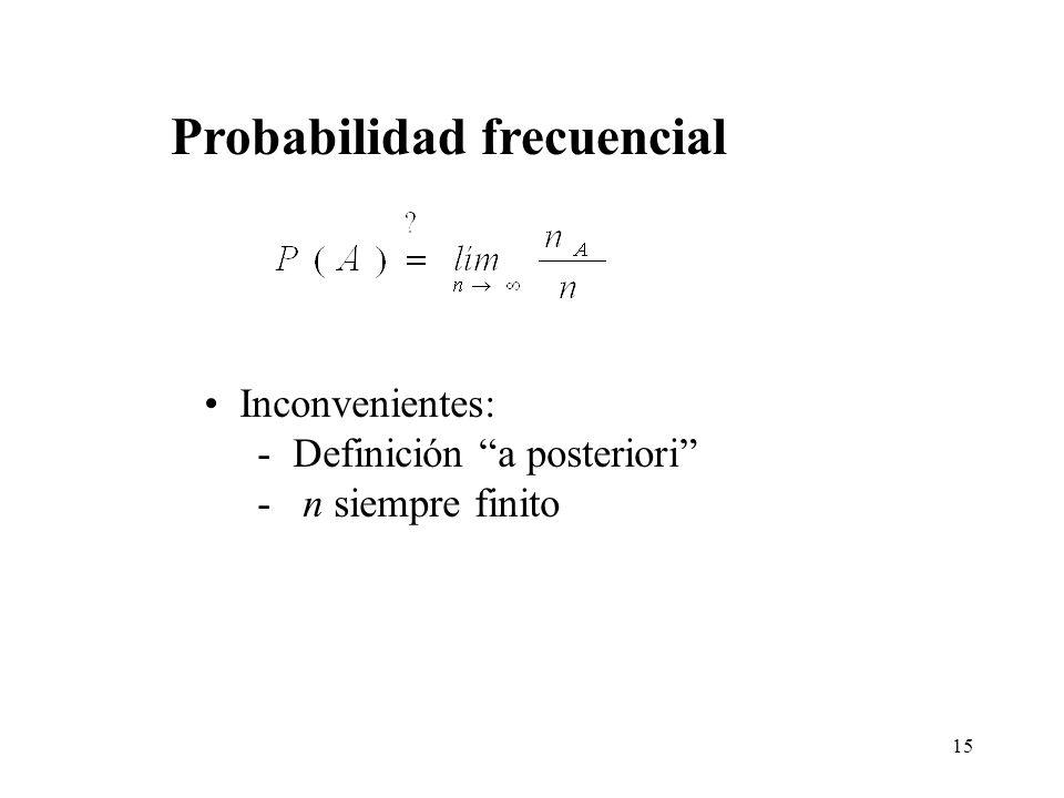 14 Definición frecuencial Definición clásica Definición axiomática Definiciones de Probabilidad Interpretación frecuentista: probabilidad como cualida