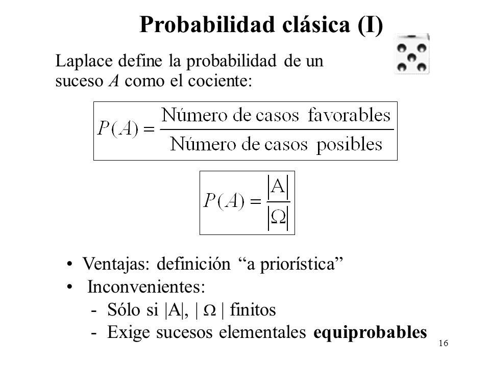 15 Probabilidad frecuencial Inconvenientes: - Definición a posteriori - n siempre finito