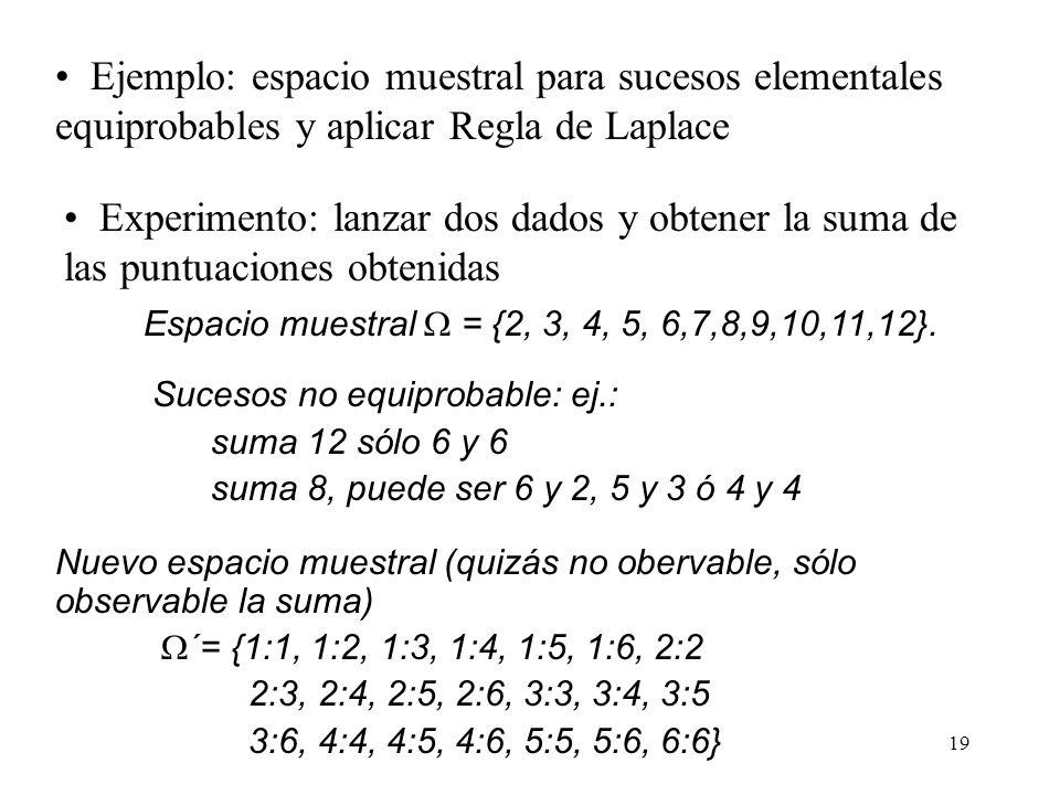 18 Probabilidad clásica (III) A pesar de los inconvenientes la Regla de Laplace puede ser muy útil para asignar probabilidades a los sucesos (ajuste d