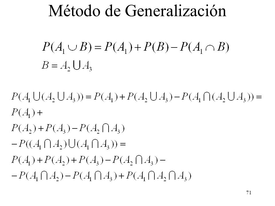 70 Varias demostraciones de la regla de la adición: Método de generalización Método de inclusión-exclusión Método de inducción