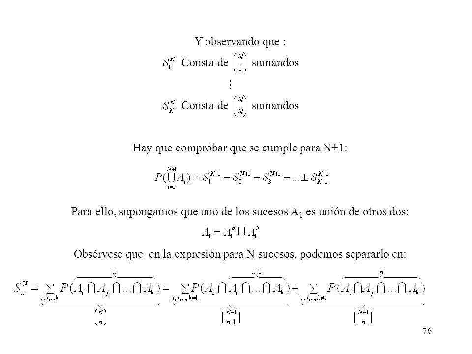 75 Método de inducción Se demuestra que para N=2: Para N=3: Suponiendo cierta la propiedad para N: