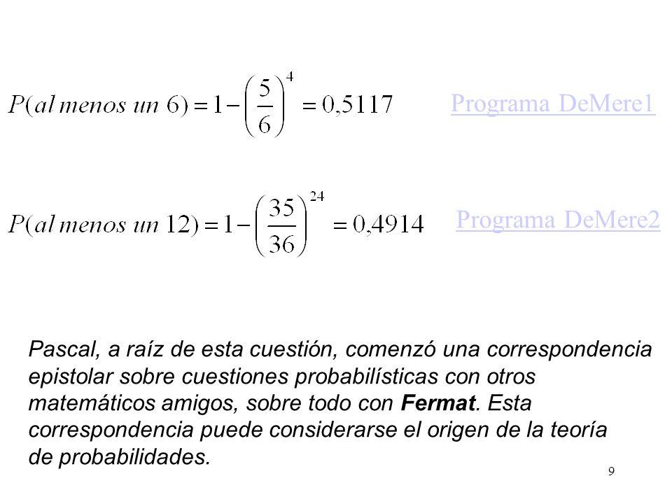 8 Antoine Gambaud, Chevalier de Mère, planteó uno de los problemas más antiguos de la teoría de probabilidad al filósofo y matemático francés Blaise P