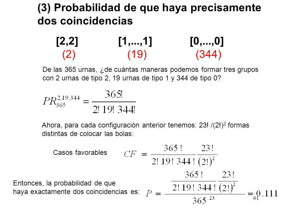 90 (2) Probabilidad de que haya precisamente una coincidencia y solo una [2] [1,...,1] [0,...,0] (1) (21) (343) De las 365 urnas, ¿de cuántas maneras