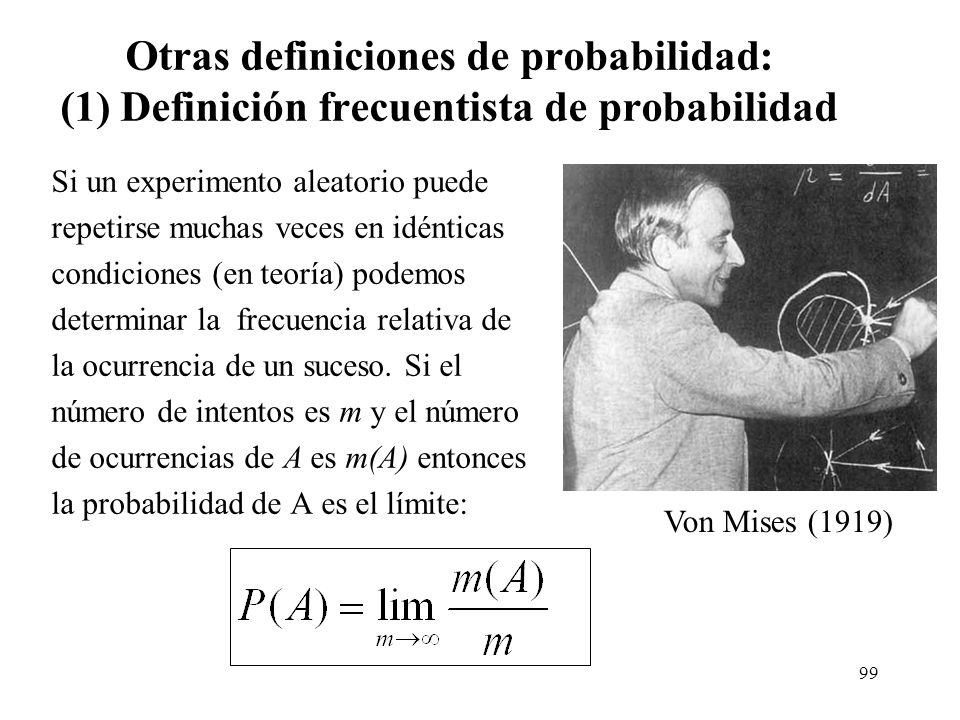 98 Sueños proféticos Supongamos que la probabilidad de un sueño profético sea de 1/10.000 (muy poco frecuente). La probabilidad de que no sea profétic