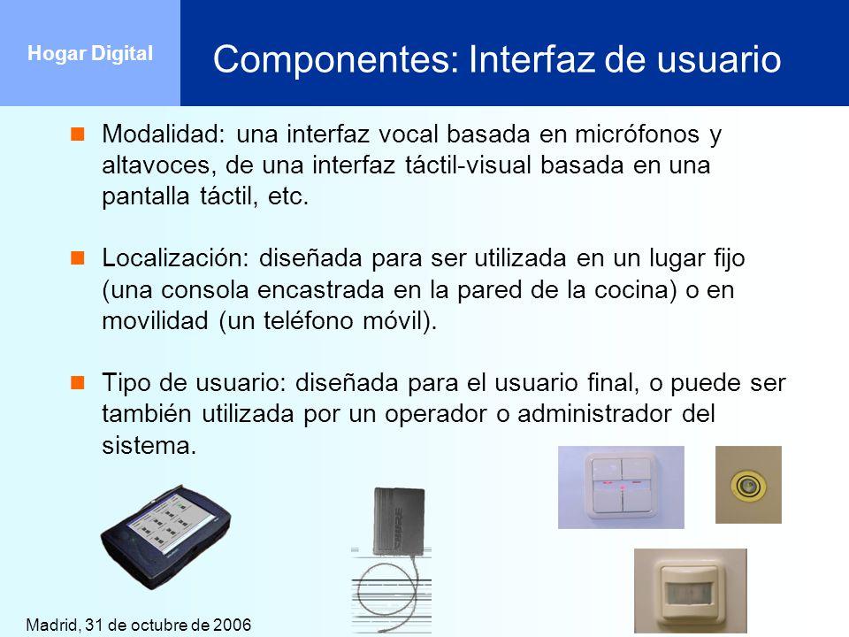 Madrid, 31 de octubre de 2006 Hogar Digital Componentes: Interfaz de usuario Modalidad: una interfaz vocal basada en micrófonos y altavoces, de una in