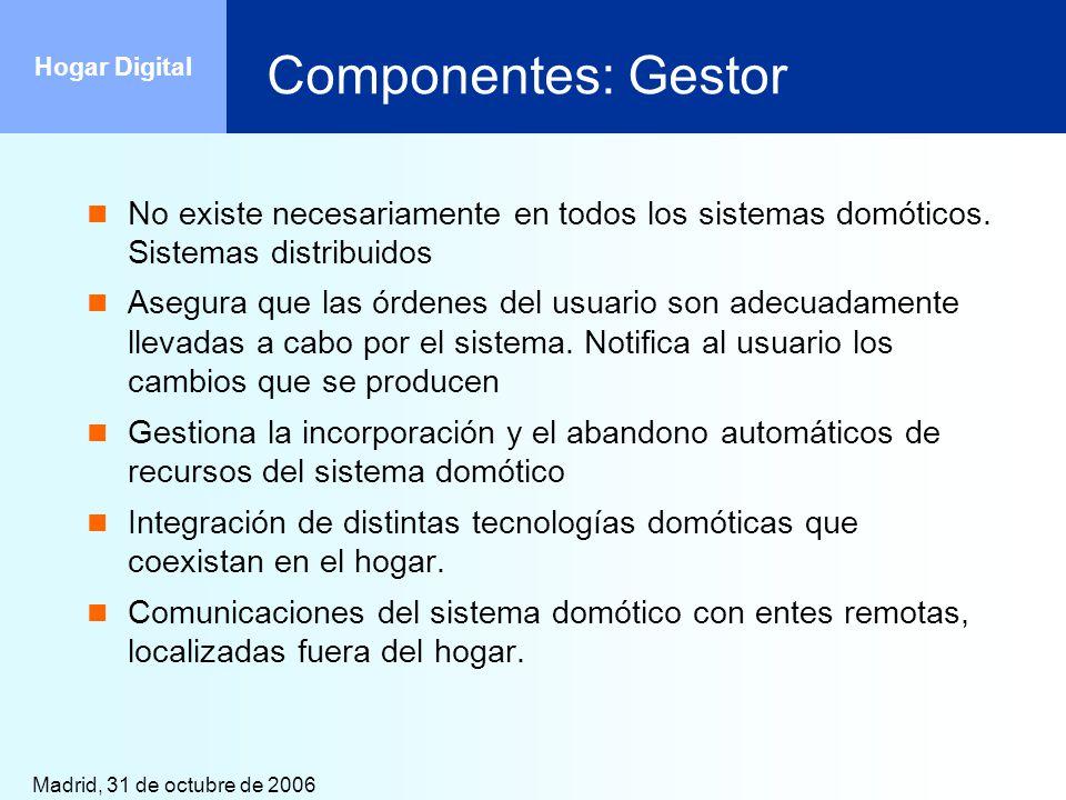 Madrid, 31 de octubre de 2006 Hogar Digital Componentes: Gestor No existe necesariamente en todos los sistemas domóticos. Sistemas distribuidos Asegur